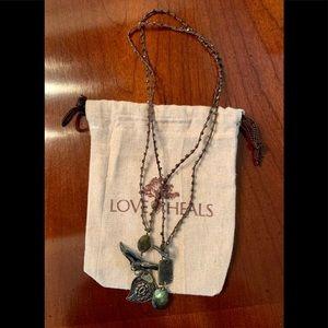 Love Heals pyrite and labradorite necklace